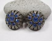 Vintage Blue Clip Earrings, 1970's Blue Crystal Rhinestone Antiqued Silvertone 'Sea Anemone' Clip On Earrings, Blue Rhinestone Clip Earrings