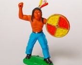Vintage Germany elastolin composition Indian toy. Cowboys and Indians DDR