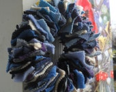 Felted Wool Sweater Winter Wreath; blue, white, gray, candle ring, candle wreath, handmade