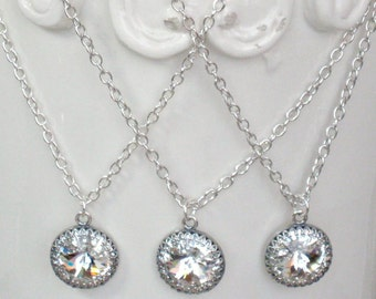Necklaces SET OF THREE  for Bridesmaids, 16 - 18 Inches Long with Swarovski Crystals and Antique Silver, Weddings and Bridesmaid Gifts