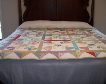 Tulips and Hearts Lap Quilt