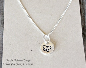 Butterfly Necklace, Sterling Silver Butterfly Necklace, Minimal Butterfly Necklace, Handstamped Necklace
