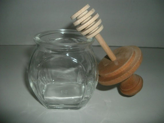 Vintage Four Sided Clear Glass Honey Jar With By Memoriesnmore