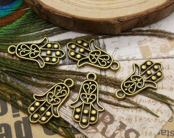 20 pcs of Antiqued  brass small metal hand pendant  13x22mm
