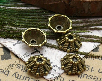 50 pcs of Antique Brass flower metal bead cups 4x10mm,extrude bead caps findings beads