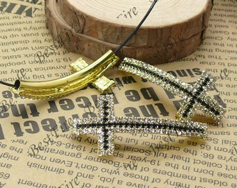 2pcs of 23x52mm Gold tone Sideways Cross black and white Rhinestone Connector,Cross Bracelet Connector,bangle findings