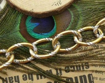 38inch 18x26mm Shiny Cut  O silver gold  Metalic Aluminium Chunky Chain
