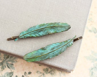 Feather Bobby Pins Verdigris Patina feather Hair Accessories Pair of Feathers Teal Blue Feather Rustic Green Brass Woodland Nature Bird