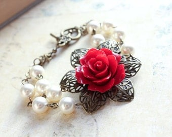 Red Rose Bracelet Ivory Pearl Bracelet Beaded Bracelet Gothic Red Bridal Vintage Style Country Chic Wedding Romantic Floral Accessories