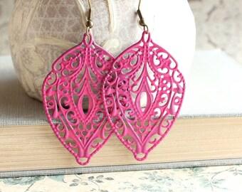 Hot Pink Earrings Patina Dangle Earrings Neon Bright Spring Jewelry Big Filigree Earrings Fuchsia Earrings Long Earrings Bohemian Jewelry