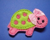 Tess the Turtle Feltie Hair Clip Hairbow Clippie- For Infant Toddler Girl
