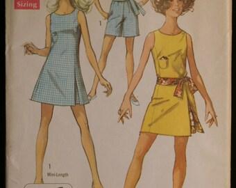 Simplicity 8249 Misses Jiffy Mini Dress Shorts & Sash Vintage 60s Sewing Pattern Sz 16