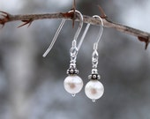 Bridal Jewelry, Freshwater Pearl, Dainty Freshwater Pearl Earrings, Bridal Accessories, Sterling Silver, Ivory White
