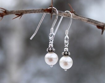 Dainty Freshwater Pearl Earrings, Bridal Accessories, Sterling Silver, Ivory White