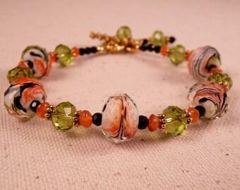 Lampwork Bracelet Beaded Bracelet Crystal Bracelet Gemstone Bracelet Crystal Jewelry Lampwork Jewelry  Beaded Jewelry