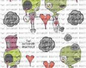 INSTANT DOWNLOAD Zombie Love Digital Collage Sheet