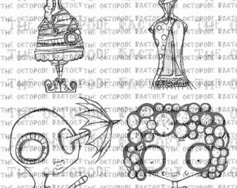 INSTANT DOWNLOAD Steampunk Ladies Set of 4 digital stamps