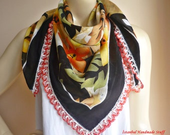 Black Square  Cotton  Scarf /Turkish  Anatolian Oya  Scarf / with Hand Crocheted   Lace Edges
