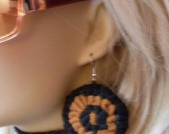 Black & Mustard Fiber Art Earrings  LJO Collection Jewelry