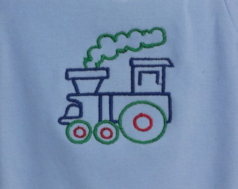 Onesie Train Engine embroidered design on a one piece baby bodysuit long or short sleeved (JL010)