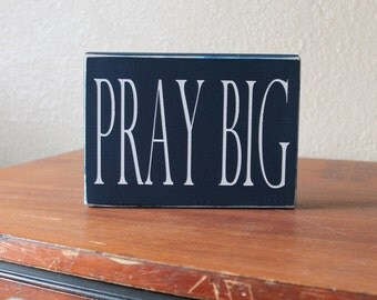 Navy Blue and White Pray Big Painted Wood Sign