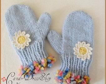 Kids light blue mittens, Girls sky blue gloves, Baby girls blue mittens, Cute design blue mittens, Flowered blue gloves, Girls winter gloves