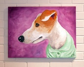Custom Pet Portrait 18x24 Canvas Art Acrylic Painting Dog Cat Horse Rabbit Duck Chicken