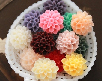 14pcs Beautiful Mix Colorful  Chrysanthemum Flower Resin Cabochon 14colors  -15mm(CAB-EA-MIXSS)