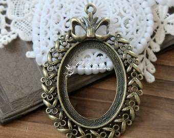 2 Pcs   Antique Bronze  Cabochon  Base frame Base for making resin photo necklaces and pendants(SETHY-94)