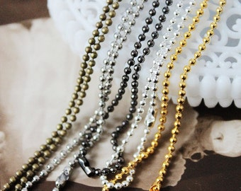 5PCS 5Colors 1.5mm Ball Bead Chain Blank Necklace 1.5mm Bead Chain with Clasps(CHAINSS-36)