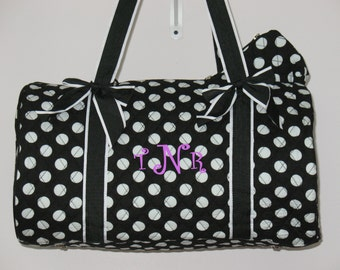"""Personalized 20"""" Duffle Bag Dance Bag/Ballet Bag/Black and White Polka Dots  LUGGAGE"""