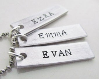 Name Necklace 3 Tags Hand Stamped Personalized Jewelry Couples Charm Necklaces Aluminum Personalized Stainless Steel Chain