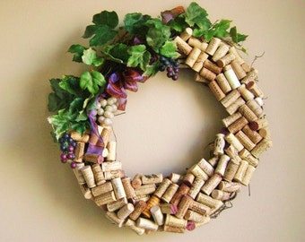 """18"""" original recycled wine cork wreath Washington state wineries silk leaves and fake grapes on grapevine wreath"""