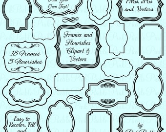 Frames Clip Art Clipart, Flourishes Clip Art Clipart - Commercial and Personal
