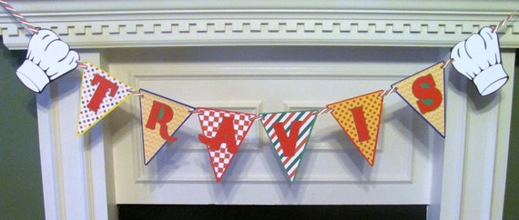 Pizza Party Birthday Banner with personalized name banner for the chef/birthday honoree
