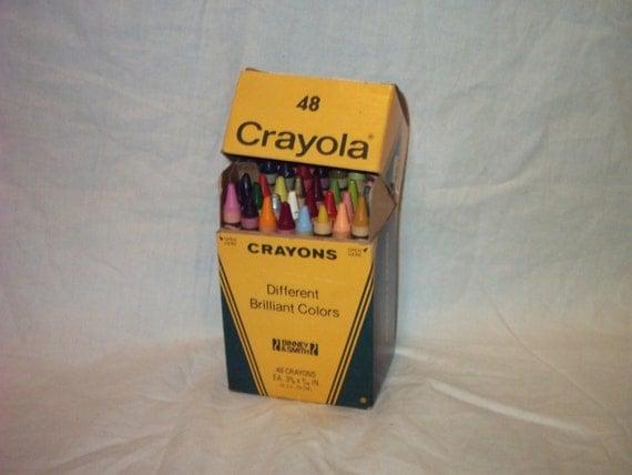 Vintage 48 Crayola Crayons In Box 1980s