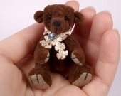 Beautiful Brown Miniature Artist Bear 6.5cm / 2.5inches