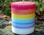 Rainbow Chakra Pillar Candle Palm Wax