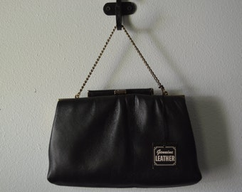 Vintage Ande Clutch Black Leather Purse with Original Hang Tag Small Chain Kiss Lock Beautiful Quality Fab Condition Small Leather Handbag