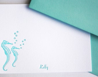 Personalized Letterpress Stationery Seahorse Custom Cards Aqua Blue