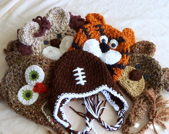 Baby Hats - Photo Prop Package  - Baby Boy Hats - Owl Hat, Football Hat, Lion Hat, Tiger Hat and Bear Hat - Newborn Hats - by JoJosBootiqu