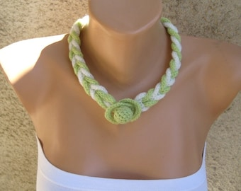 Neon Braided Necklace Knit Jewelry Textile White / Lime Rope Simple Trendy Accessory Women Gift idea Eco friendly Beach fashion by Dimana