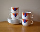 Vintage Mod Style Waechtersbach Pottery Cups and Saucers Set