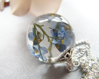 Forget me Not Necklace, Resin Orb, Blue Pressed Flower Necklace, Remembrance Necklace, Birthday Gift