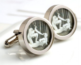 Bondage Cuff Links of Victorian Women in Chains, Fine Vintage Fun PC127