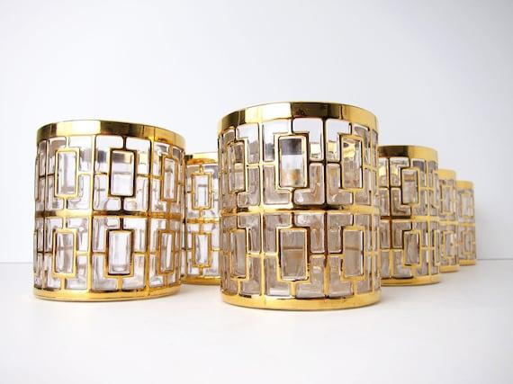 Imperial Shoji Gold Glasses - 8 Rocks Tumblers