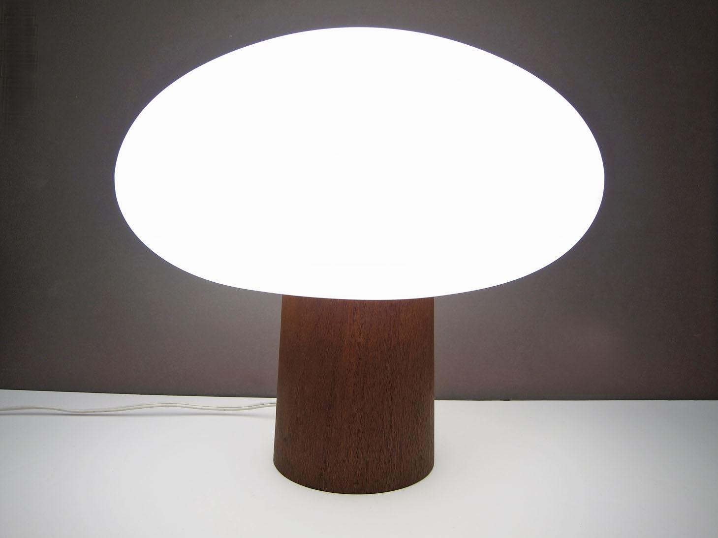 Laurel Mushroom Lamp Wood Base Mid Century Danish Modern