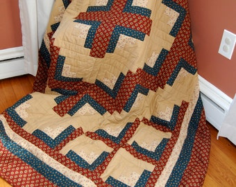 SALE, Twin Size Quilt, Hand Quilted, Americana, Patriotic Quilt