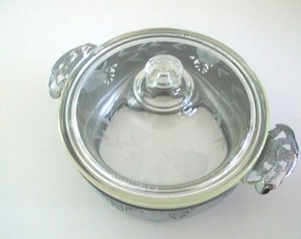 Antique Pyrex Etched Glass Casserole Dish with Dollar Backstamp