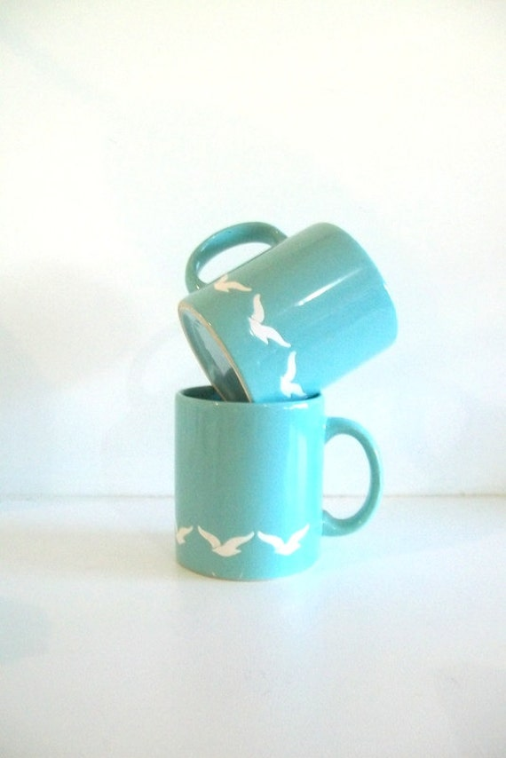 Fly Away - Waechtersbach Spanish Sky Blue Bird Mugs